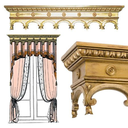 111 best grand gothic furniture images on pinterest for Wooden curtain pelmets
