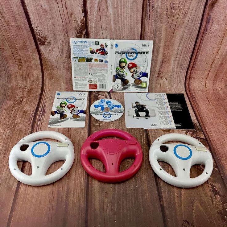 Wii Mario kart Bundle 3 Steering Wheels 2 Genuine 1 Pink one & Mariokart Game U