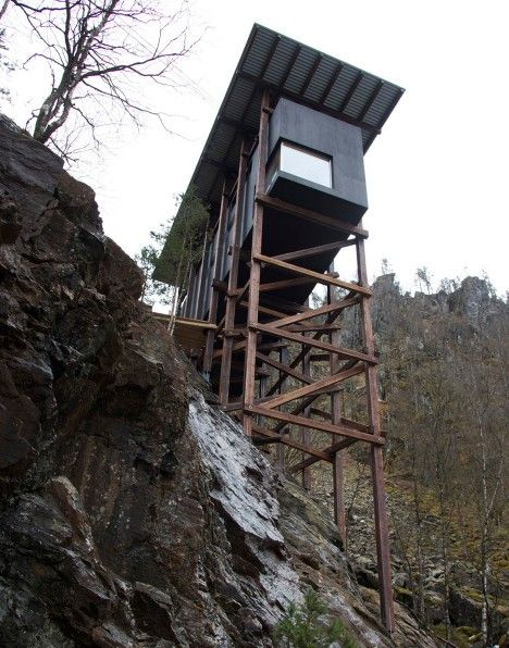 Allmannajuvet tourist route pavilion in Norway by Peter Zumthor