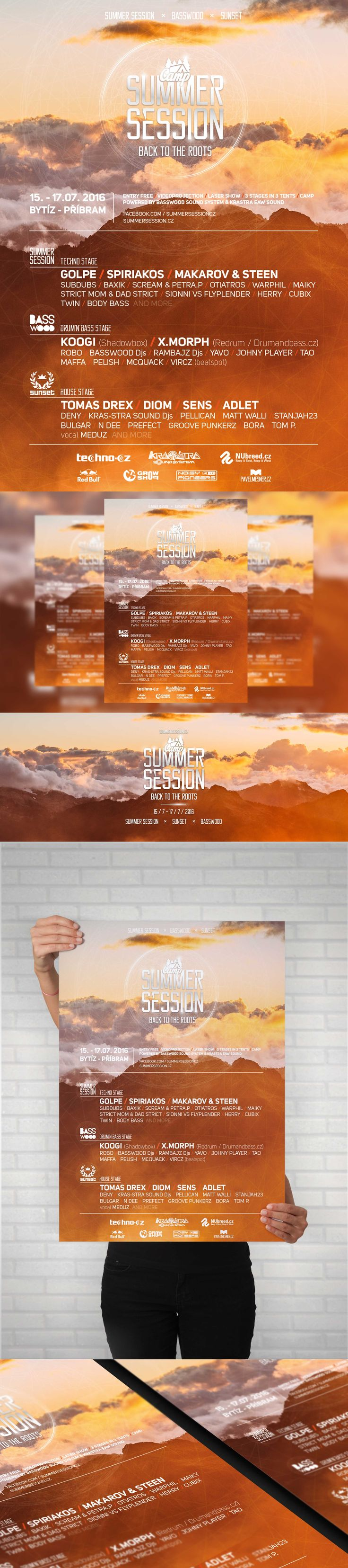 Summer session camp 2016 Electronic music event - A3, A4, A5 Poster, Facebook event header and preview.  #poster #posterdesign #fbheader #graphicdesign