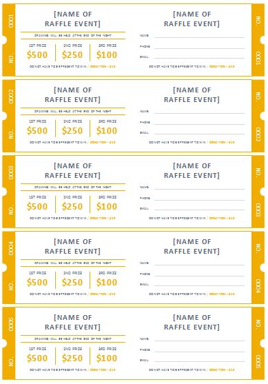 Through The Help Of Our Free Raffle Ticket Templates You Can Create Raffle  Tickets That Are Perfect For Your School, Club, Event Or Organization.  Fundraiser Ticket Template Free Download