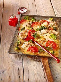Putenschnitzel mit Brokkoli vom Blech
