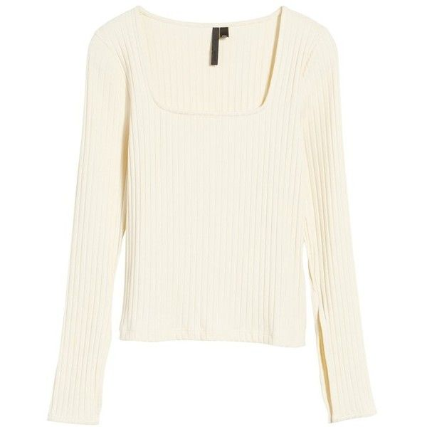 Women's Topshop Boutique Square Neck Slit Cuff Sweater ($24) ❤ liked on Polyvore featuring tops, sweaters, beige, long white sweater, long white top, rib knit sweater, long tops and longer sweater