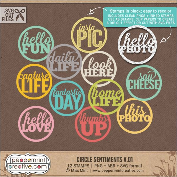 Circle Sentiments v.01 - .PNG & .ABR Stamps plus .SVG Cut Files for #silhouette #diecut