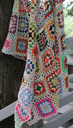 Here's some lovely granny square inspiration for your dash today. No pattern, but there are a ton of granny square patterns all over the net, including my past blog posts (HERE) that might help you create something similar. Love the open work that connects the squares!  Granny Square Throw-Photo by moxie-girl on Flickr