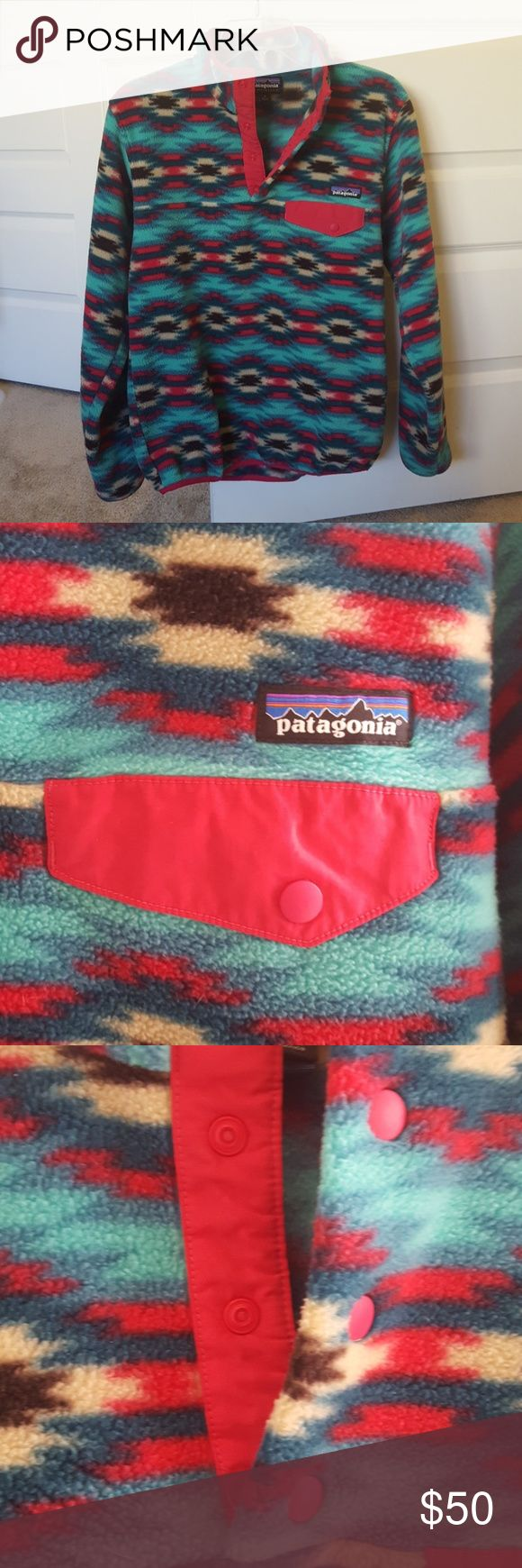 Patagonia Synchilla Sweater sz Small Fun and colorful fleece from Patagonia! Beautiful emerald and pink shades with cream and brown in a fun pattern. Only used a few times and selling because I have others that I use more. Patagonia Sweaters