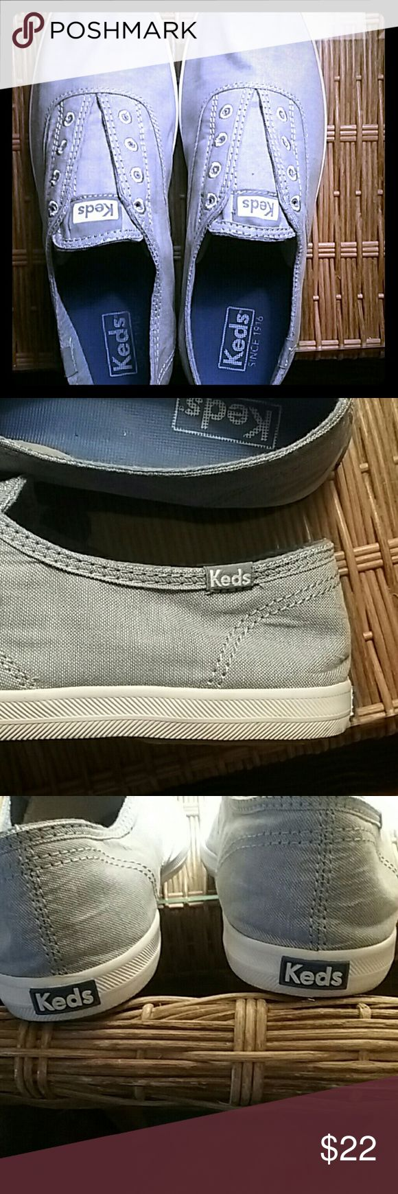 Keds Women's Chillax  Laceless Slip ons Super comfortable slip on Chambray  material light sky blue. WORN ONCE  outside for less than 2 hours.  Clean and pristine! Keds Shoes Sneakers