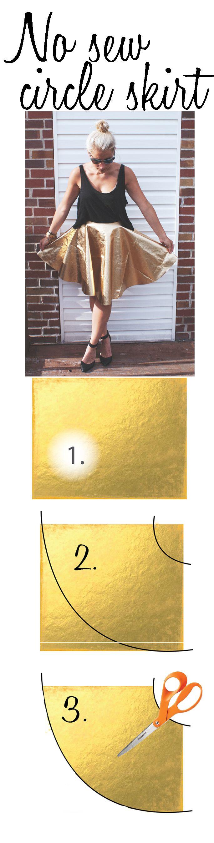No sew circle skirt   metallic circle skirt