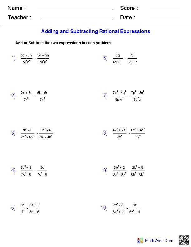 Worksheets Adding And Subtracting Rational Expressions Worksheet adding and subtracting rational expressions worksheet worksheets math aids