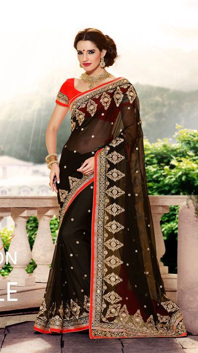 USD 94.38 Black Embroidered Georgette Party Wear Saree 40376