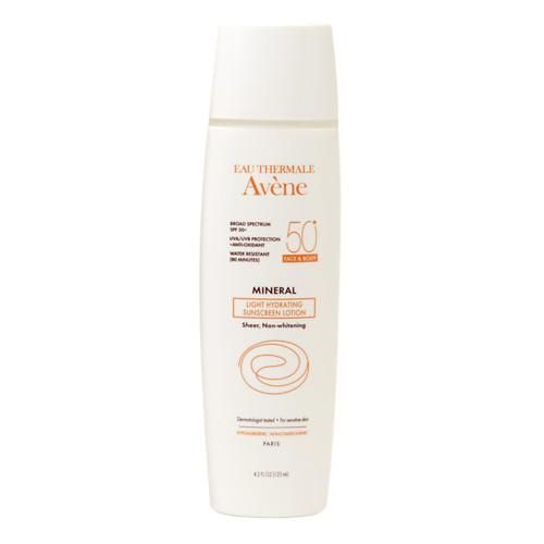 Active Ingredients: 4% Titanium Dioxide and 6% Zinc Oxide  Finding an oil-free sunscreen that is also hydrating, is next to impossible, but French skincare brand Avene delivers. This lotion glides onto skin, instantly making it feel smoother and softer. Their waterproof mineral sunscreens have been revamped with new non-nano formulas that are free of parabens and fragrance.   Eau Thermale Avène Mineral Light Hydrating Sunscreen SPF 50 ($30)