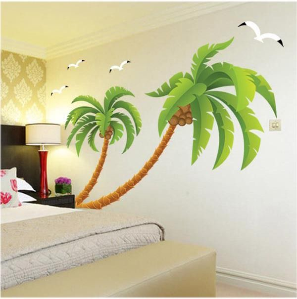 Super Large coconut tree wall stickers sitting room bedroom corner decoration wall sticker PVC wallpapper wall decals