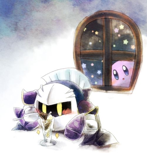 Heh I love how people just draw mk all adorable pffft kirby just in the window