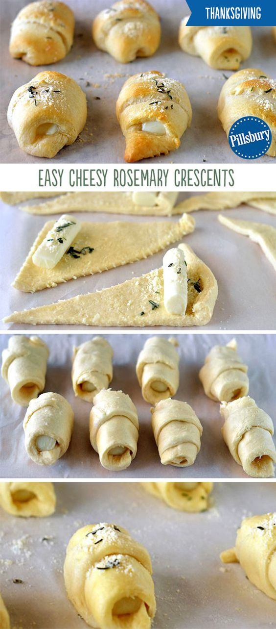 Take your crescents up a notch this Thanksgiving! These Easy Cheesy Rosemary Crescent Rolls take a fun and delicious twist on your favorite side. This easy 4-ingredient recipe is filled with gooey cheese and topped with Parmesan and rosemary. Bread is always a hit and is the perfect side to every dish this holiday.