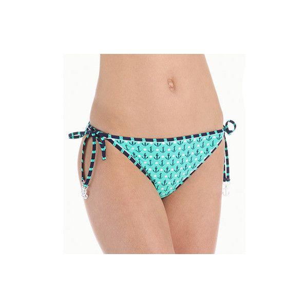 Sperry Top-Sider SW5X494 Anchor Pipeline Reversible Tie Side Swim... ($40) ❤ liked on Polyvore featuring swimwear, bikinis, bikini bottoms, nautical bikini, navy bikini bottom, side tie bikini bottom, beach bikini and white bikini top