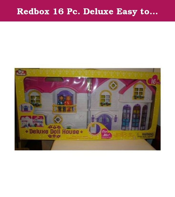 Redbox 16 Pc. Deluxe Easy to Fold & Store Dollhouse with Sound & Lighed Door Bell. Age 3 and up. Easy to fold and store. Set includes: Husband and Wife, Bed, Cabinet, Lamp, Dining Table, 4 Chairs, TV Cabinet with Hi-Fi, TV, Coffee Table, Fireplace, Vanity Table, and Floor Lamp.