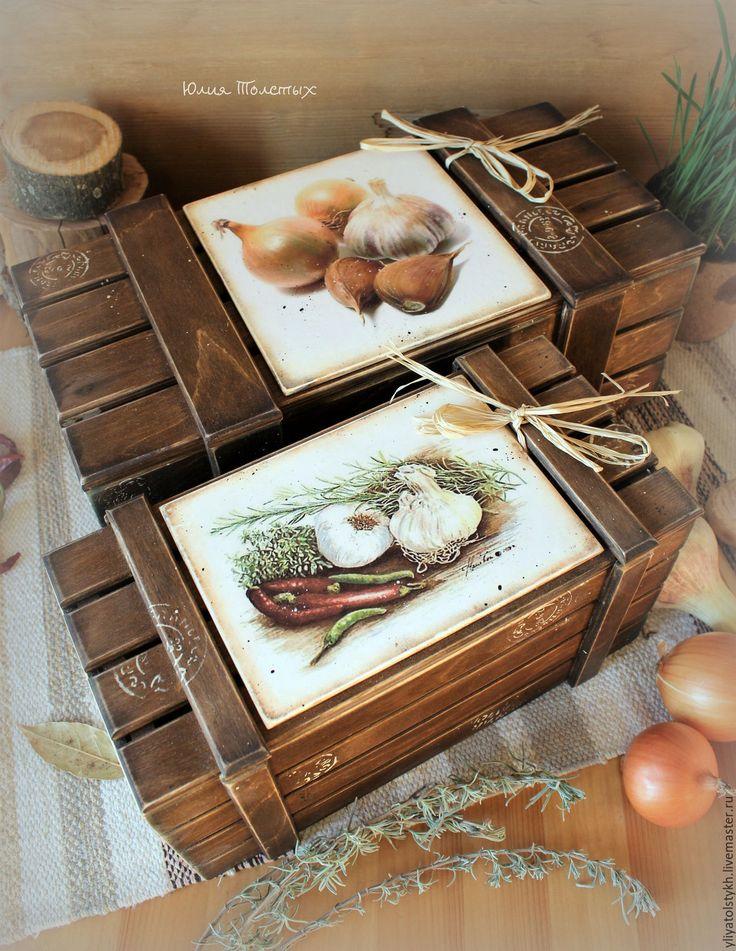 Купить Набор ящиков для овощей 2 - коричневый, ящик для овощей, декупаж для кухни, для овощей