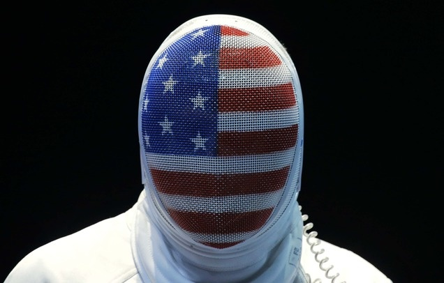 The United State's Seth Kelsey looks on during his match against Estonia's Nikolai Novosjolov in the men's individual epee fencing competition.