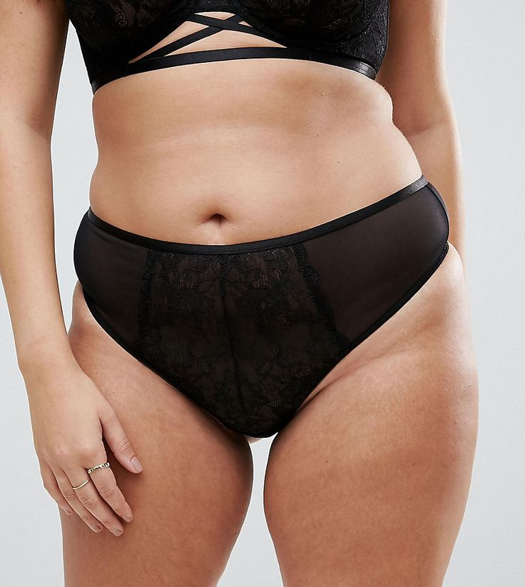ASOS CURVE Becca Strappy Lace Thong - Black
