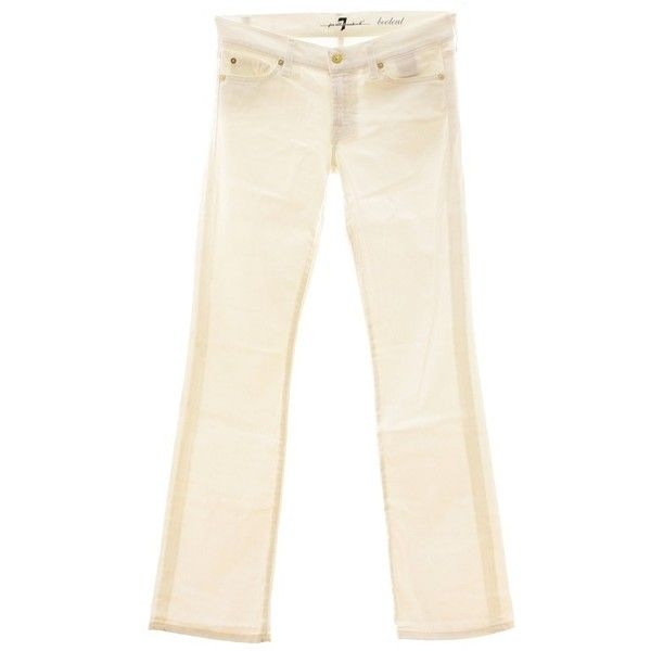 Pre-owned Noble white Bootcut Jeans ($42) ❤ liked on Polyvore featuring jeans, white, white bootcut jeans, bootcut jeans, button-fly jeans, dotted jeans and 7 for all mankind bootcut jeans