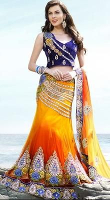 Alluring Gold Color Embroidered Saree