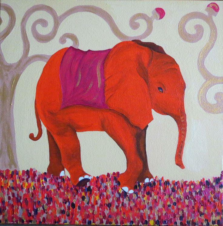 Elefante Naranja / Acrilico 30 x 30
