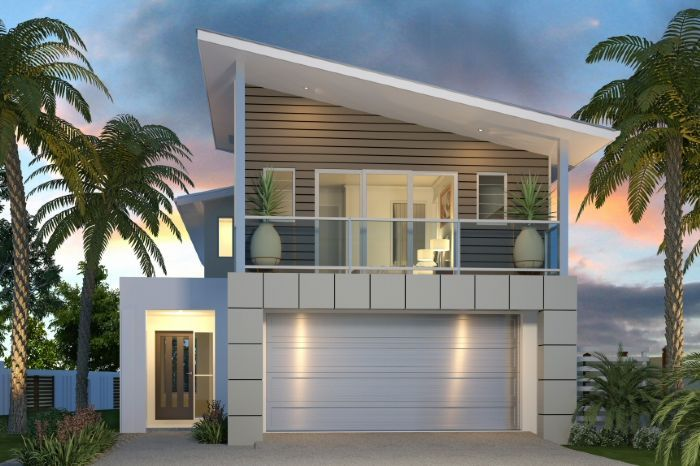 Architecture Minimalist Two Storey Beach House Design With Palm Trees And Greenyard For The Front Yard Landscaping And Garage Also Sloped Roof Shed Two-Storey Coastal Retreat House