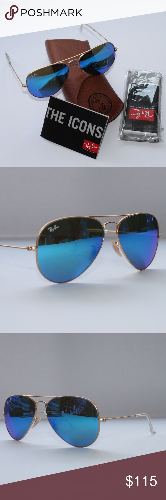 Ray-Ban Aviator Matte Gold  Frame Blue Mirror Brand New 100% Authentic ,Ray Ban RB3025 112/17 58 Sunglasses Matte Gold  Frame Blue Mirror Ray-Ban Accessories Sunglasses