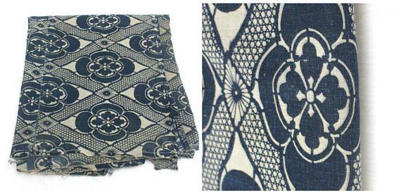 LARGE Antique Japanese Katazome Textile. Handwoven Cotton.
