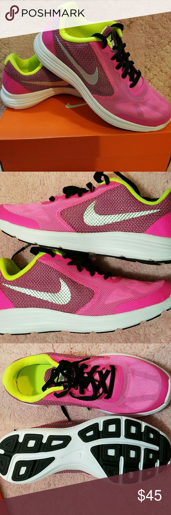 BRAND NEW Nike Revolution 3 (GS) 100% New. Absolutely No Wear At all! Box still included. Were a gift but sadly they didn't fit.   Marketed as size 5Y (youth) but can fit as a woman's size 5 too.   I am asking for $45 since they're brand new. But since I also need to clear out my closet , I will take the BEST offer that comes to me FIRST Nike Shoes Athletic Shoes