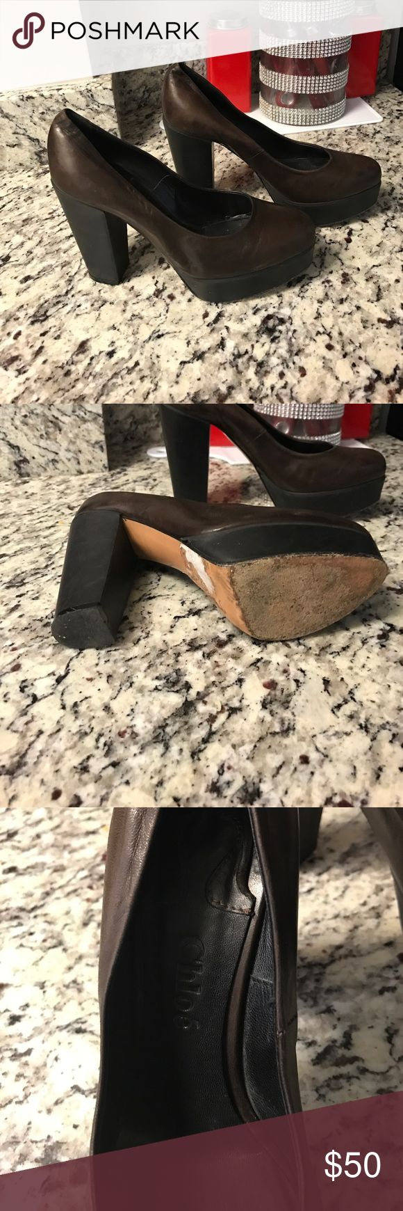 Chloe Brown Leather Pumps Brown Leather Heals in great condition... just need some Leather cleaner to clean since it was in storage. Chloe Shoes Heels
