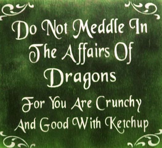 Do not meddle in the affairs of Dragons. For you are crunchy and good with ketchup ... ...  Good to remember :-)