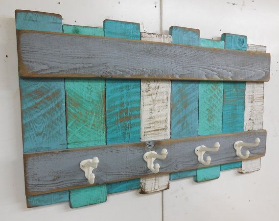Nautical Coat Rack, Beach Theme Coat Rack, Rustic Beach Wall Hanging,Nautical Wall Decor,Beach Colors,Cast iron Coat hooks, Beach Towel Rack