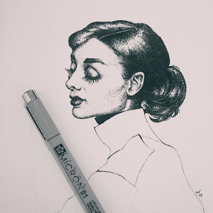 Audrey, pen on paper, 2013