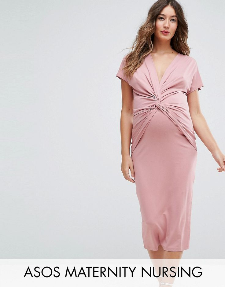 Get this Asos Maternity's jersey dress now! Click for more details. Worldwide shipping. ASOS Maternity NURSING Solid Dress With Twist Knot - Pink: Maternity dress by ASOS Maternity, Smooth stretch fabric, Plunge neck, Twist knot detail to front, Ideal for nursing, Short sleeves, Close-cut bodycon fit, Designed to fit during and post pregnancy, Machine wash, 95% Viscose, 5% Elastane, Our model wears a UK 8/EU 36/US 4 and is 169cm/5'6.5 tall. Maternity dressing gets bumped up to next-level…