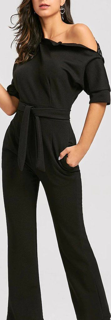 Black Slanted One Shoulder Wide Leg Formal Jumpsuit #jumpsuit