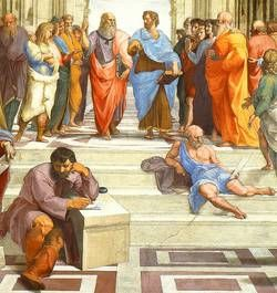 Raffael: Die Schule von Athen (Detail). Platon und Aristoteles (hinten), Heraklit (= Michelangelo) und Diogenes (vorn)