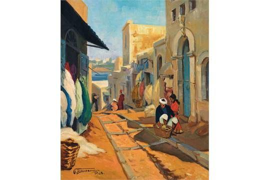ODETTE BRUNEAU (1891-1984) SCÈNE DE RUE AU MAROC STREET SCENE IN MOROCCO Huile sur toile signée e