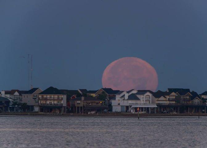 The full moon over Tiki Island.
