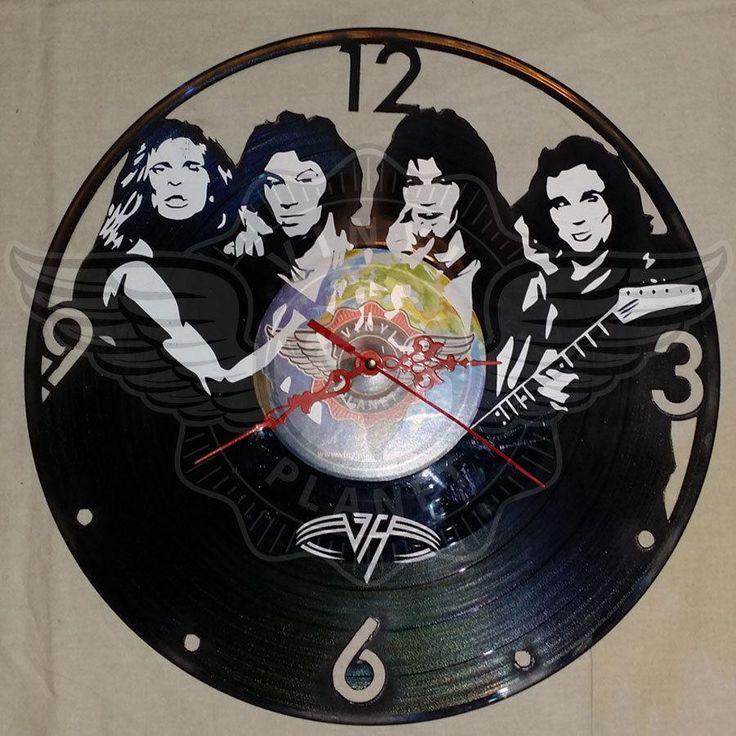 VINYL PLANET Wall Clock VAN HALEN Gift Home Record Unique Decor upcycled 12''