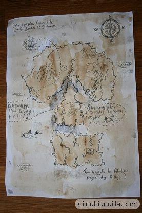 carte des Pirates pour anniversaire de pirates