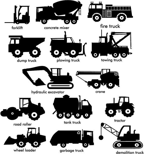 Construction Trucks wall vinyl decals Vol 1 and 2 by sixunderatree ...