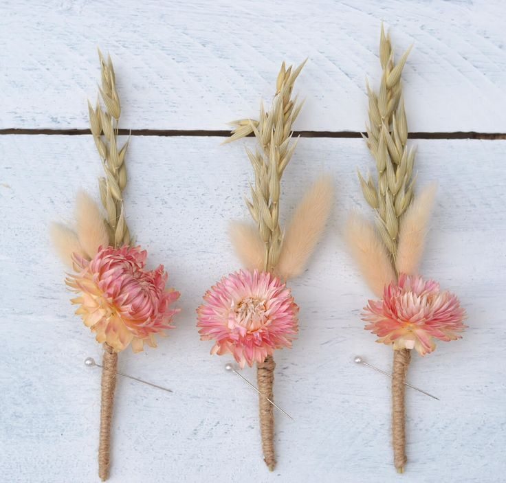 Pink and Natural Rustic Boutonniere Boho Buttonhole for Groom and Groomsmen Dried Flowers Handmade Wedding Accessories for Modern Wedding by CGWeddingFlowers on Etsy https://www.etsy.com/listing/244505594/pink-and-natural-rustic-boutonniere-boho