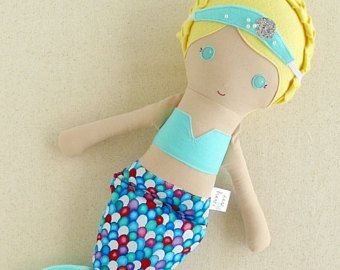 Fabric Doll Rag Doll Mermaid Doll with Light Blond Hair in Braids, a Silver and Aqua Sparkly Tail, and a Blue-Green Crown