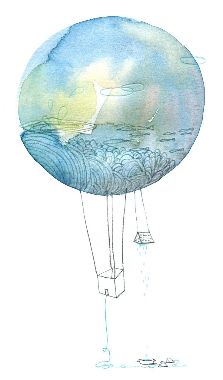 prendre l'eau et le large,  aquarelle, Cécile Hudrisier