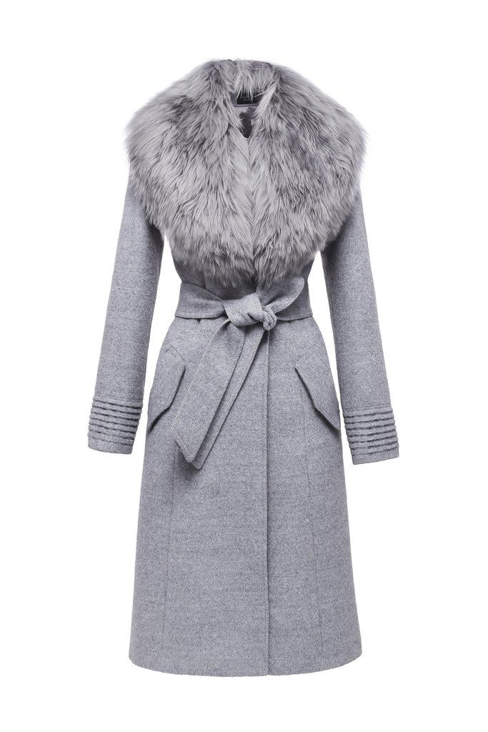 SENTALER Luxury Outerwear Long Coat with Fur Collar