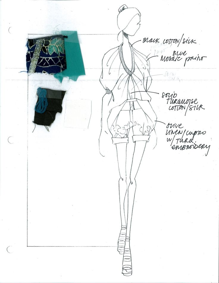 Fashion Sketchbook - fashion drawing and fabric swatches; the fashion design process