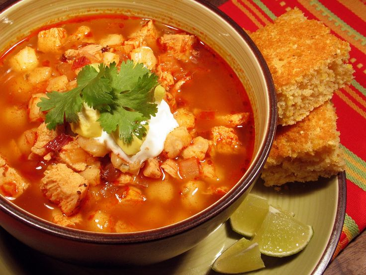 Posole is a traditional Mexican dish from the pacific coast region of Jalisco. A thick soup that's usually made with pork, hominy, garlic, onion, chili peppers, cilantro, and broth.
