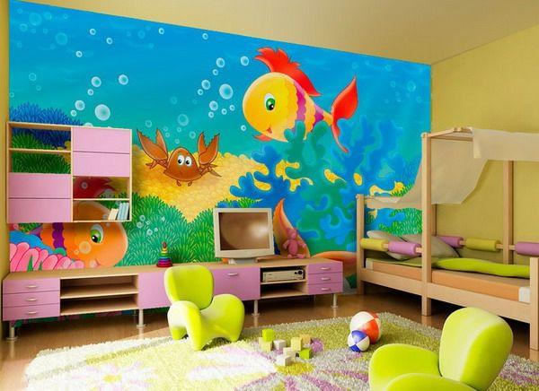 farben-fürs-kinderzimmer-fisch-im-meer- niedliche kindezimmergestaltung - Kinderzimmer streichen – lustige Farben für eine freundliche Atmosphäre