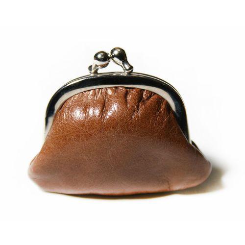 """Kleine Geldbörse/Portemonaie """"Miniknip Crunch Cognac"""" aus Leder 8 x 7 x 1,5 cm - Cellarrich"""